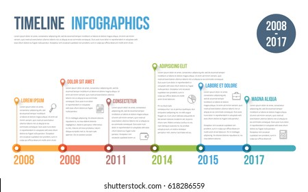 Timeline infographics template, workflow or process diagram, vector eps10 illustration