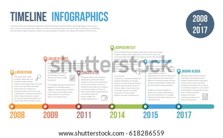 timeline infographics template workflow process diagram のベクター