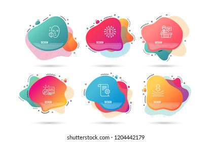 Timeline liquid shapes. Set of Face protection, Resilience and Exhibitors icons. Technical documentation sign. Secure access, Elastic, Information desk. Manual. Gradient banners. Timeline vector