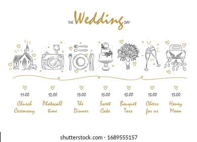 Timeline menu on wedding theme drawing