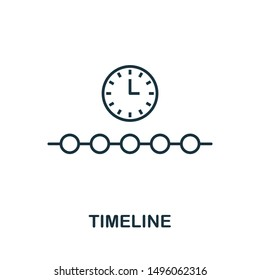Timeline outline icon. Thin line concept element from fintech technology icons collection. Creative Timeline icon for mobile apps and web usage.
