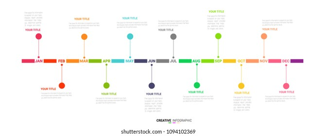 Timeline presentation for 1 year, 12 months, Timeline infographics design vector and Presentation business can be used for Business concept with 12 options, steps or processes.