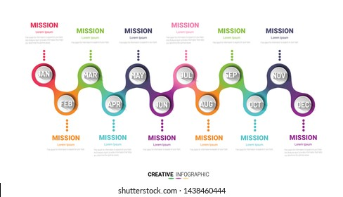 Timeline presentation for 12 months, 1 year, Timeline infographics design vector and Presentation business can be used for Business concept with 12 options, steps or processes.
