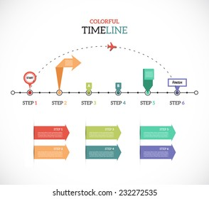 Timeline Pro - Travel - different tooltips - vector infographic