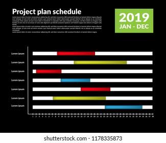 timeline progress graph - gantt progress chart of project. vector illustration