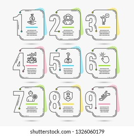 Timeline set of Engineer, Security agency and Group icons. Touchpoint, Income money and Agent signs. Teamwork results, Hiring employees and Escalator symbols