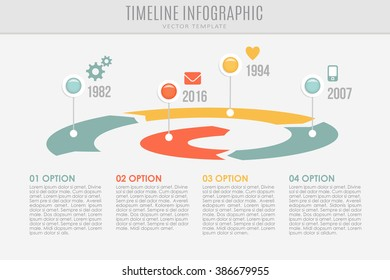 Timeline spiral report template with buttons and icons, vector illustration background