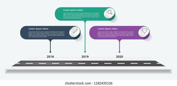 timeline template, business presentation, infographic element with 3 options, steps, lists, process.