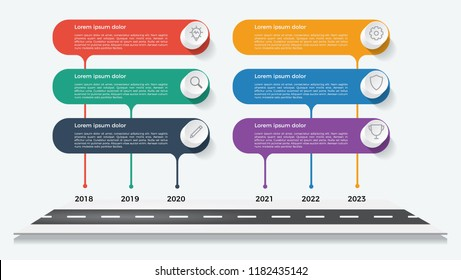 timeline template, business presentation, infographic element with 6 options, steps, lists, process.