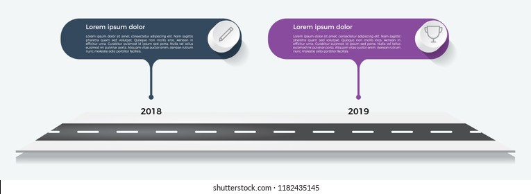 timeline template, business presentation, infographic element with 2 options, steps, lists, process.