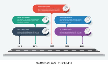 timeline template, business presentation, infographic element with 5 options, steps, lists, process.