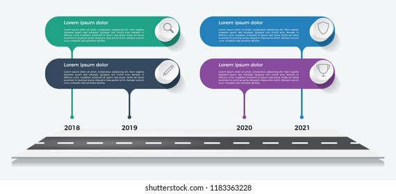 timeline template, business presentation, infographic element with 4 options, steps, lists, process.