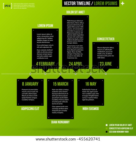 timeline template on fresh green background stock vector royalty