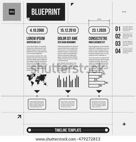 Timeline Template Some Infographic Elements Draft Stock Vector