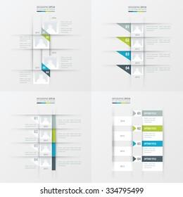 timeline vector design 4 item Green, blue, gray color