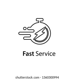 Timely delivery concept, flash and clock, order shipping on time, fast distribution services vector line icon isolated on white background
