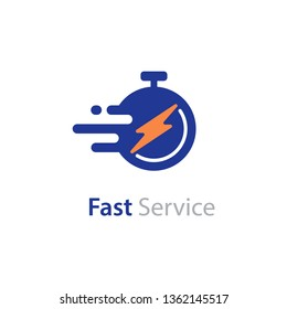 Timely delivery concept, flash and clock, order shipping on time, fast distribution services vector flat icon isolated on white background