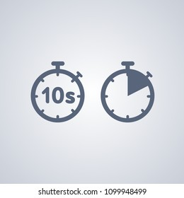 Timer 10 seconds , vector best flat icon on white background , EPS 10