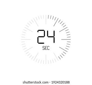 Timer 24 sec icon, 24 seconds digital timer