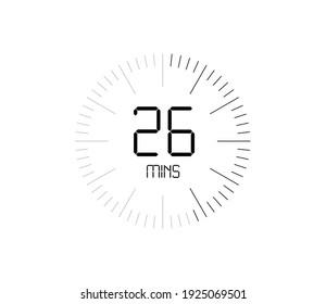 Timer 26 mins icon, 26 minutes digital timer