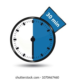 Timer 30 Minutes - Vector Illustration - Isolated On White Background