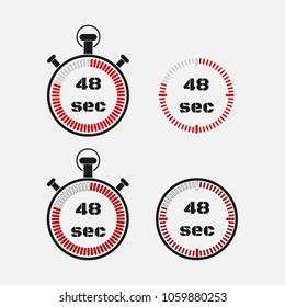 Timer 48 seconds on gray background . Stopwatch icon set. Timer icon. Time check. Seconds timer, seconds counter. Timing device.  Four options. EPS 10 vector.