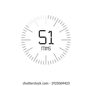 Timer 51 mins icon, 51 minutes digital timer