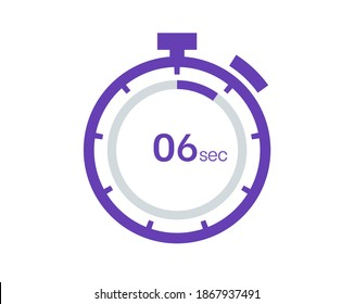 Timer 6 sec icon, 6 seconds digital timer. Clock and watch, timer, countdown