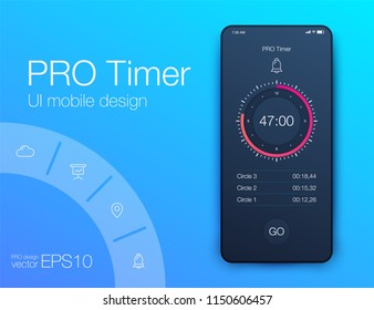 Timer clock application UI design concept. Stock vector