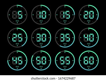 Timer, clock, stopwatch isolated set green gradient icons on black background. Vector illustration.