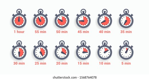 Timer, clock, stopwatch set icons. Label cooking time. Vector illustration. EPS 10