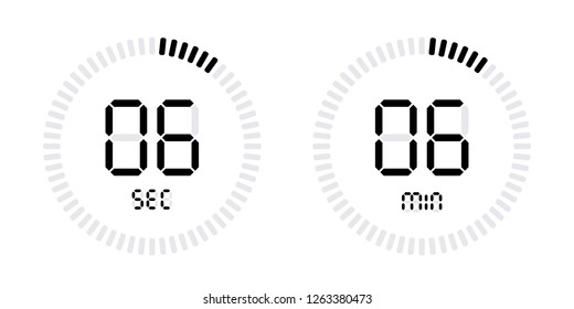 Timer countdown with minutes and seconds Icons. Stopwatch digital Vector