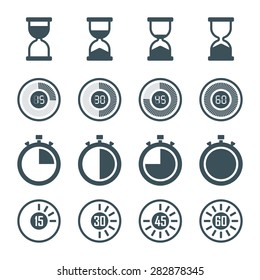 timer, digital timer, stopwatch, hourglass icons set in flat style, isolated on white background. vector illustration