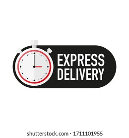 Timer with EXPRESS DELIVERY text countdown vector illustration template on white background. Vector illustration.