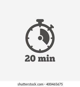 Timer icon. 20 minutes stopwatch symbol. Flat sign on white background. Vector