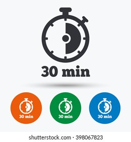 Timer icon. 30 minutes stopwatch symbol. Flat signs in circles. Round buttons for web. Vector