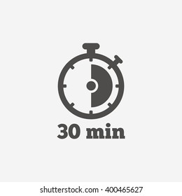 Timer icon. 30 minutes stopwatch symbol. Flat sign on white background. Vector