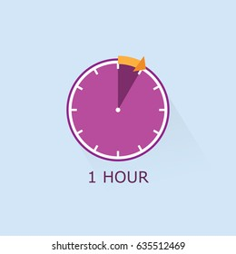 Timer icon with arrow vector illustration on light blue background. 1 hours.