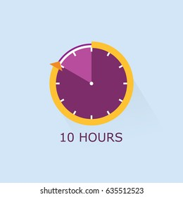 Timer icon with arrow vector illustration on light blue background. 10 hours.