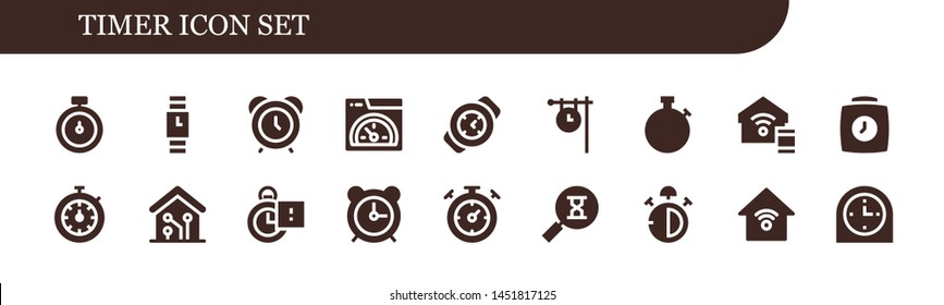 timer icon set. 18 filled timer icons.  Collection Of - Stopwatch, Wristwatch, Alarm clock, Speed, Watch, Clock, Smart home, Stopclock, Sandclock, Stop watch, Smart house