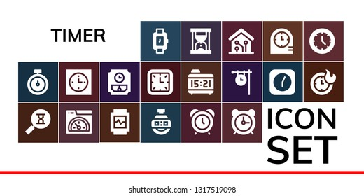 timer icon set. 19 filled timer icons.  Simple modern icons about  - Wristwatch, Stopwatch, Sandclock, Speed, Watch, Stopclock, Alarm clock, Clock, Wall clock, Clocks, Hourglass