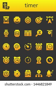 timer icon set. 26 filled timer icons.  Simple modern icons about  - Hourglass, Wait, Clock, Stopwatch, Clocks, Edit tools, Wristwatch, Watch, Timetable, Sandclock, Wall clock
