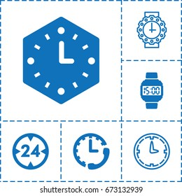 Timer icon. set of 6 timer filled and outline icons such as wall clock, wrist dial watch, 24 hour, stopwatch