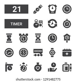 timer icon set. Collection of 21 filled timer icons included Schedule, Time, Stopwatch, Stop watch, Clock, Watch, Deadline, Clocks, Wall clock, Sandclock, Alarm clock, Hourglass