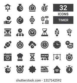 timer icon set. Collection of 32 filled timer icons included Stopclock, Smart home, Hyperloop, Night mode, Alarm clock, Stop watch, Timer, Cooking, Deadline, Sandclock, Time, Wall clock