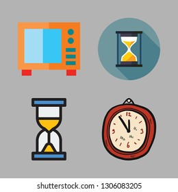 timer icon set. vector set about clock, hourglass and microwave icons set.
