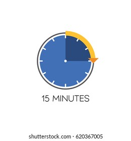 Timer icon vector illustration on white background. 15 minutes.