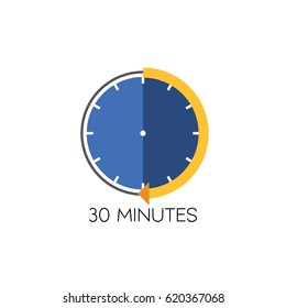 Timer icon vector illustration on white background. 30 minutes.