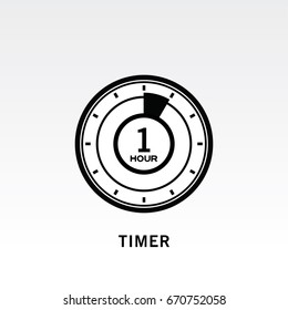 Timer icon vector illustration on light gray background. 1 hour timer sign.