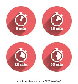 Timer icons. 5, 15, 20 and 30 minutes stopwatch symbols. Pink circles flat buttons with shadow. Vector